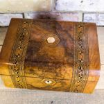 Burr Walnut Tunbridge Ware Table Box C.1870