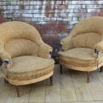 Pair French Tub Chairs For Re-upholstery