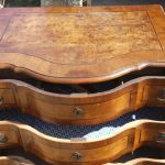 19th Century German Inlaid Walnut Serpentine Front Chest Of 3 Drawers