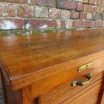 Industrial Oak Triple Tambour Front Cabinet