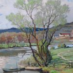 Original Oil On Canvas, Printemps A Chezy Sur Yonne By Gabriel Vie