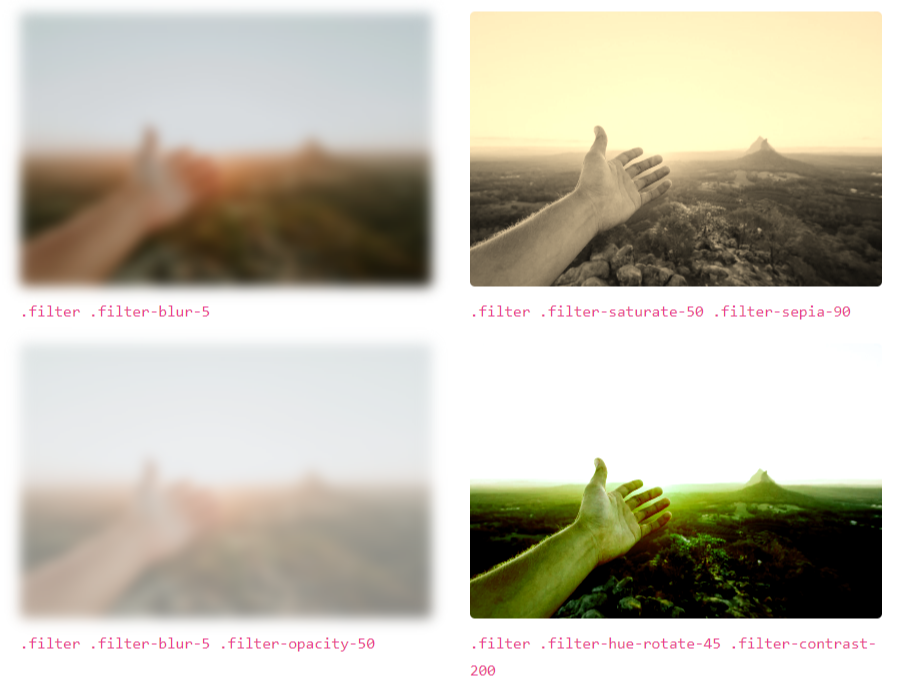 Examples of different filters being combined on the same image