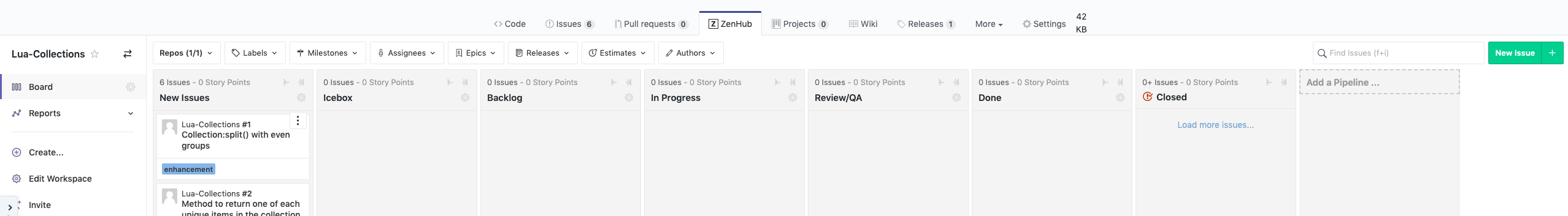 Kanban board in a GitHub repository's tabs