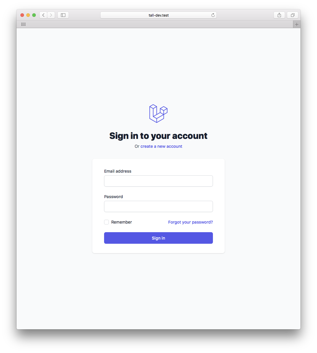 TALL preset sign-in page
