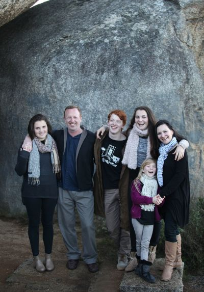 Family together at Paarl Mountain Reserve