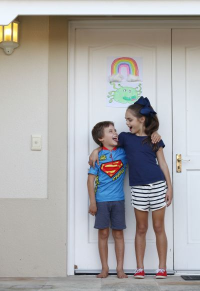 Two kids at their home in Cape Town during the lockdown.