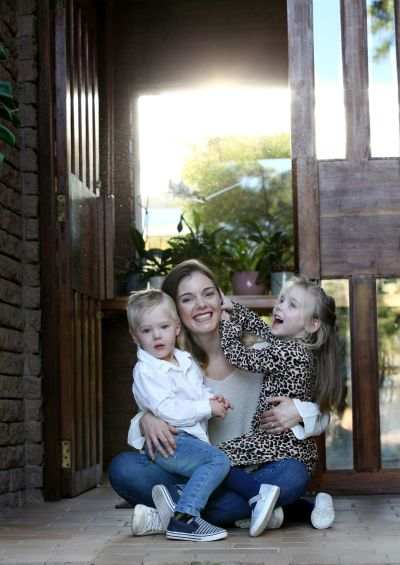 Mom and her children at home during lockdown.