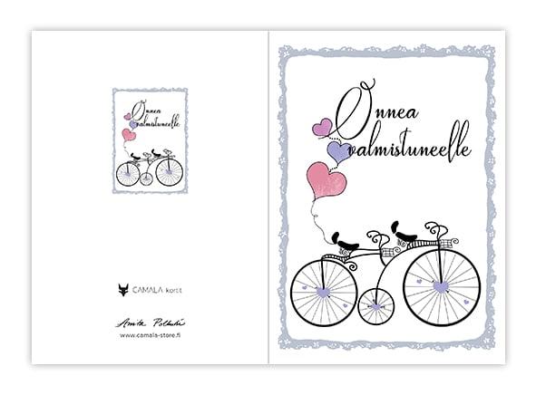 Onnittelukortti tandem pyörä ja sydän