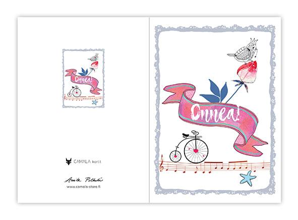Onnittelukortti onnitteluviiri ja pieni pyörä