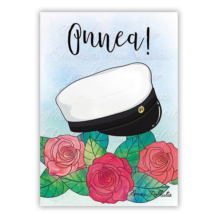 ylioppilaslakki ja ruusut postikortti