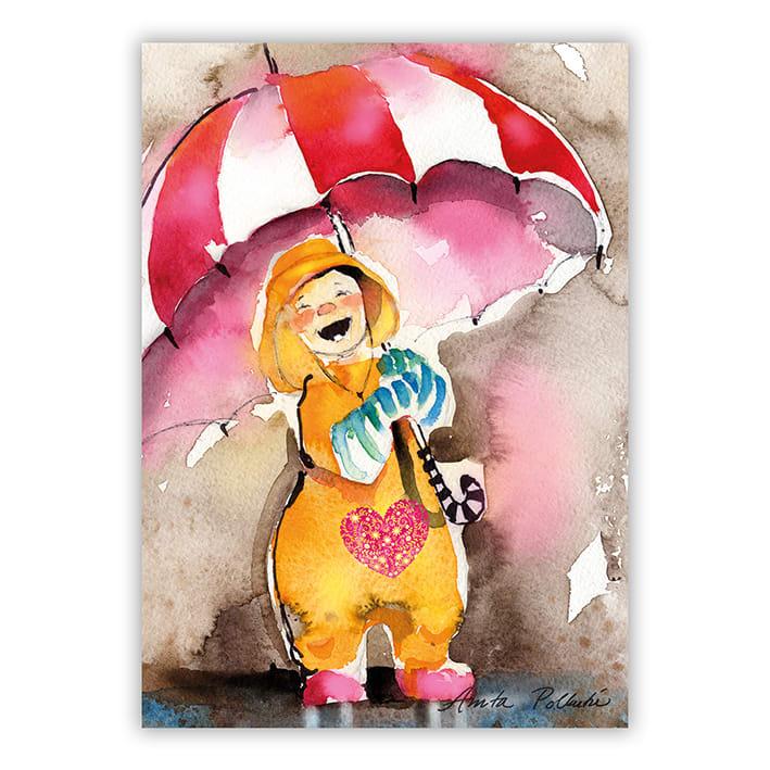 iloinen lapsi sateessa postikortti