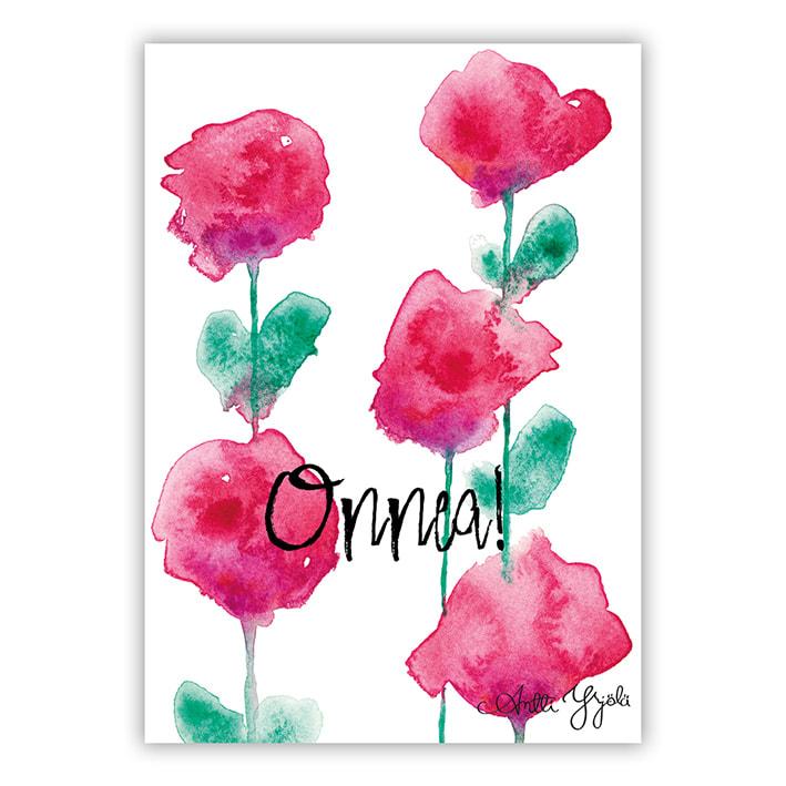 punaisia kukki postikortti