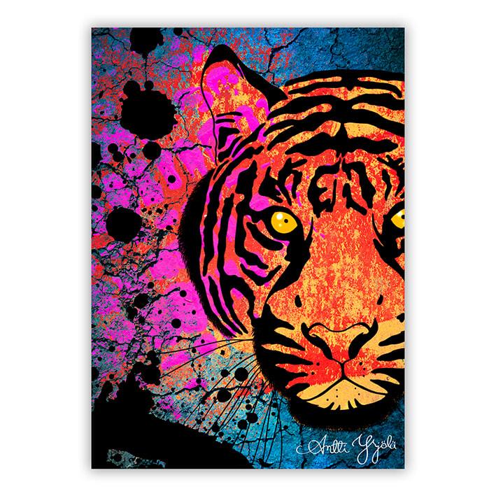 raidallinen tiikeri postikortti