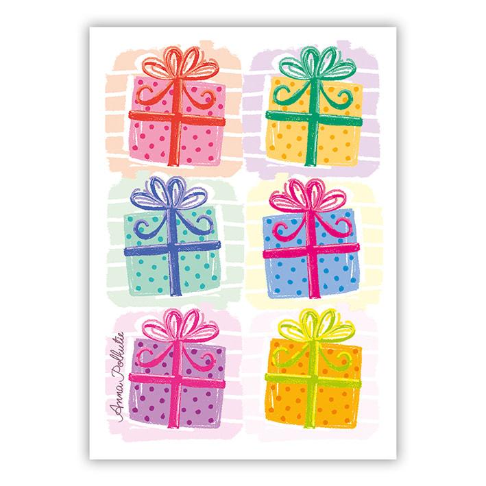 joulupaketit rivissä postikortti