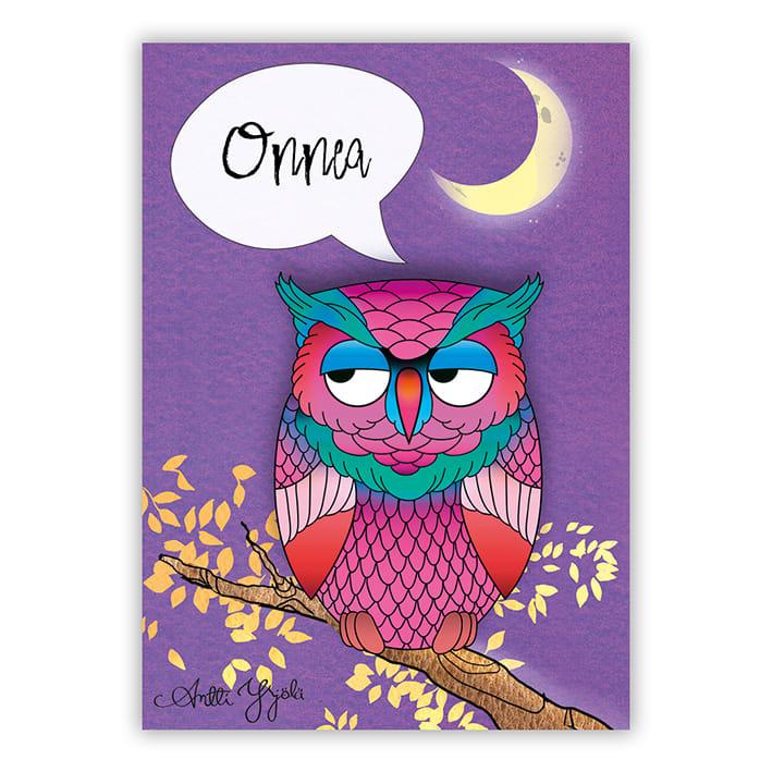 hassu pöllö puussa onnittelemassa postikortti