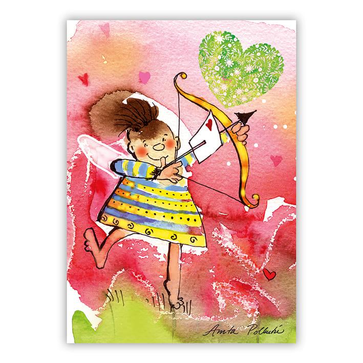 amorin nuoli ja sydän postikortti