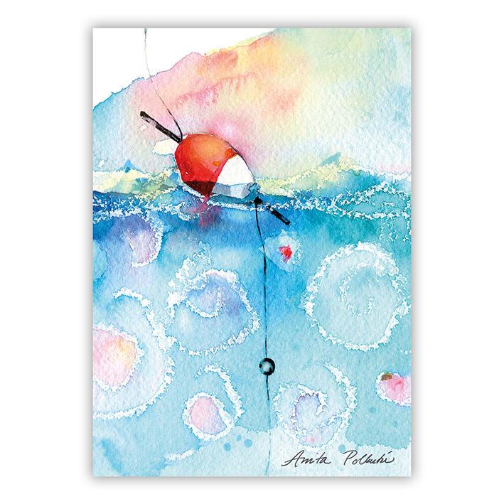 kesäinen ongenkoho postikortti