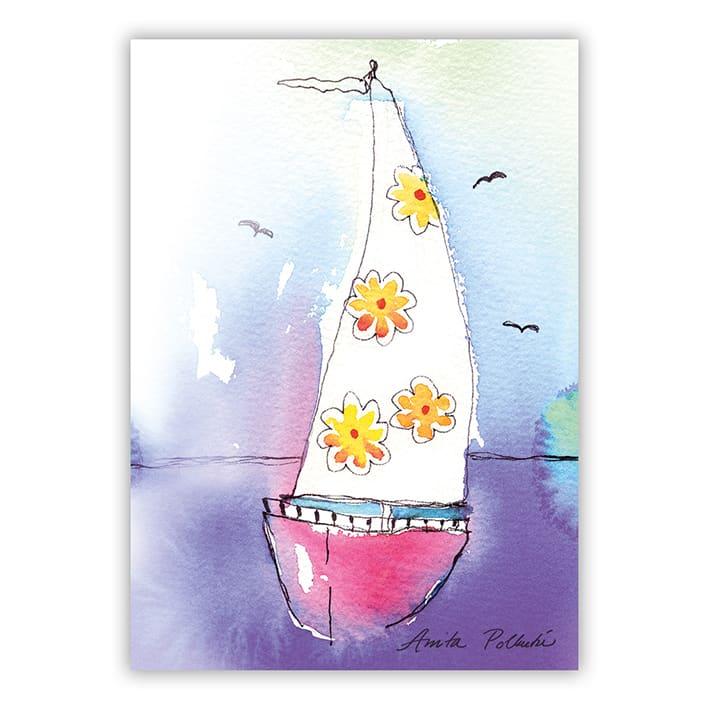 kesäinen purjevene postikortti