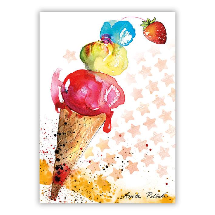 kesäinen jäätelö postikortti