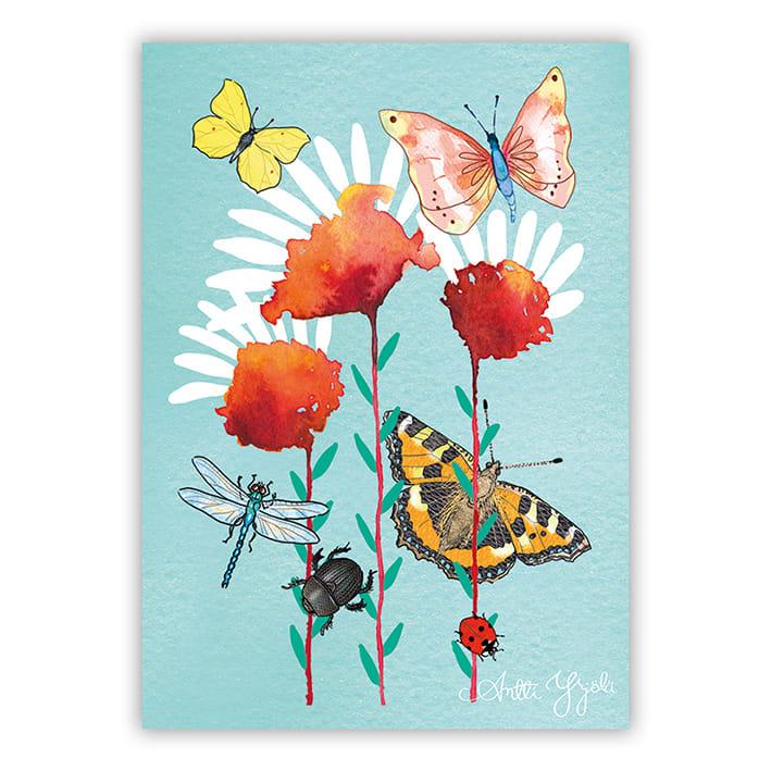 kukkia ja perhosia postikortti
