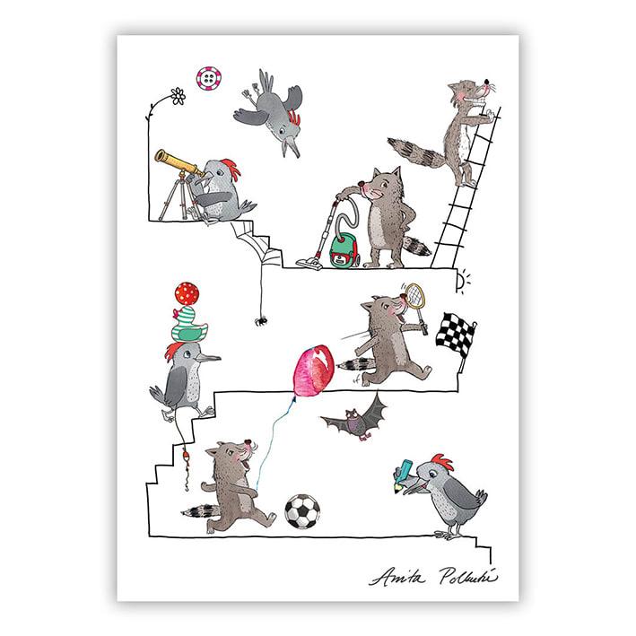hassuja eläimiä leikkimässä postikortti