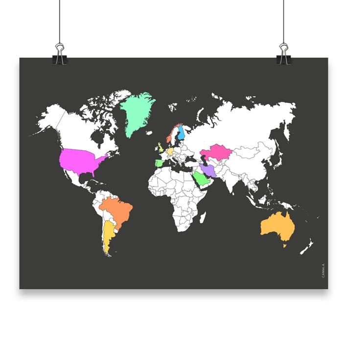 musta karttajuliste maailmankartta