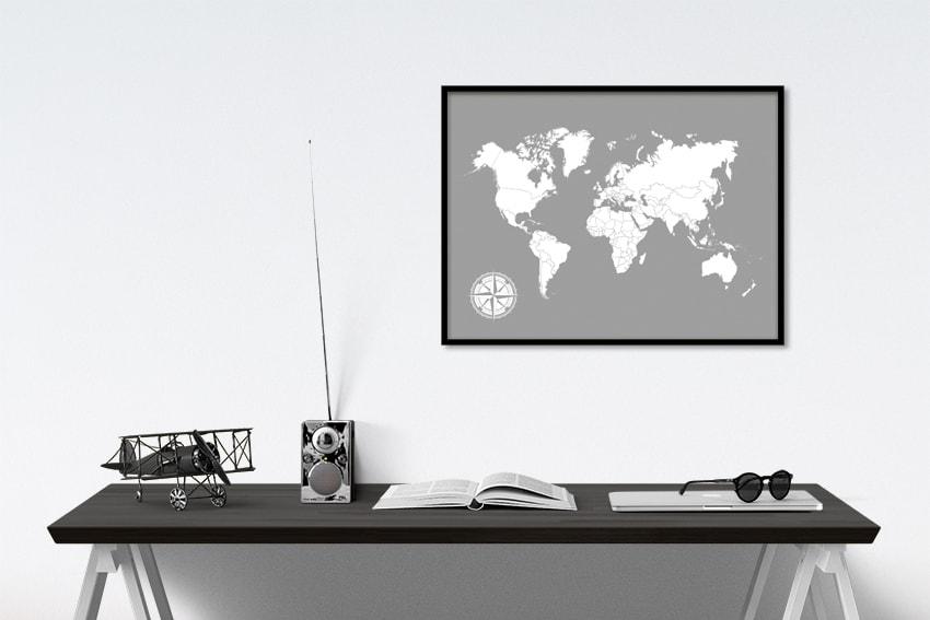 harmaa karttajuliste maailmankartta