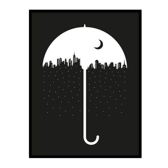 mustavalkoinen juliste sateenvarjosta