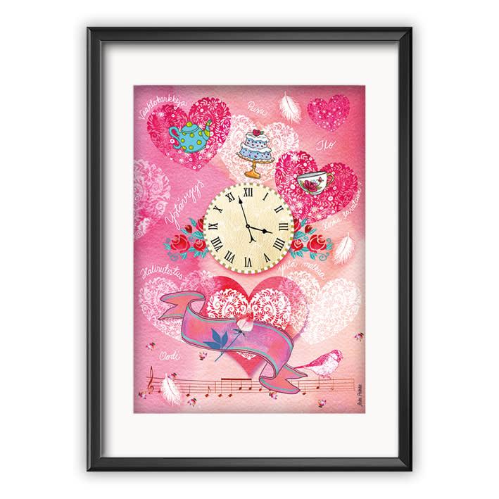 pinkki kello sydän juliste