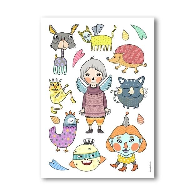 Piirroshahmot juliste