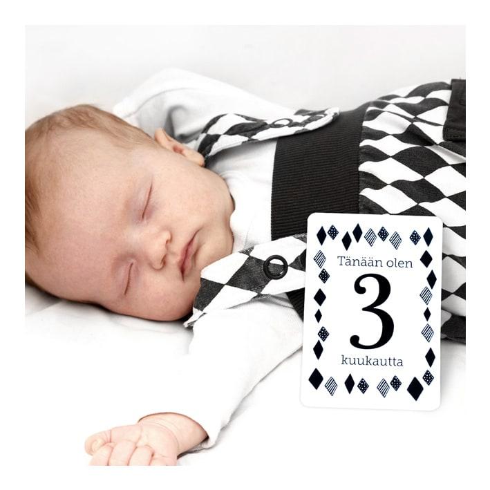 Mustavalkoiset vauvan vuosi kortit