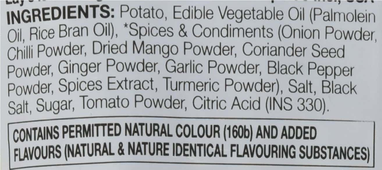 Ingredient's list for potato chips