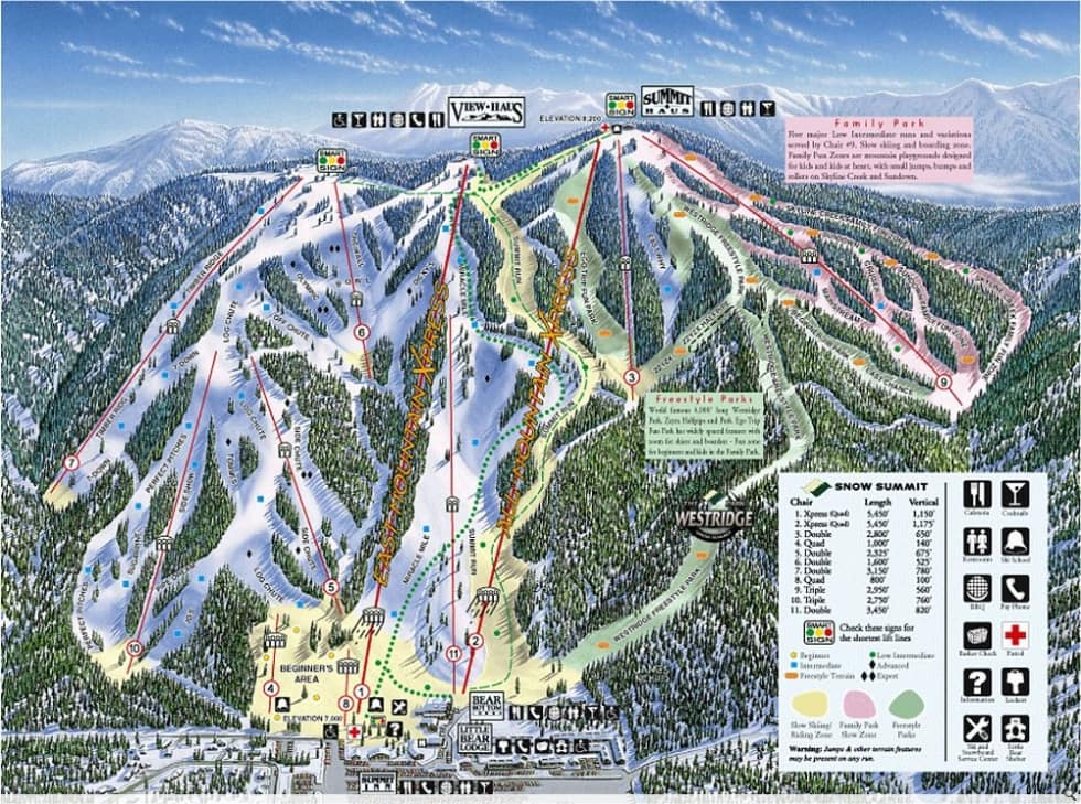 Snow Summit Trail Map Liftopia - Western us ski resorts map