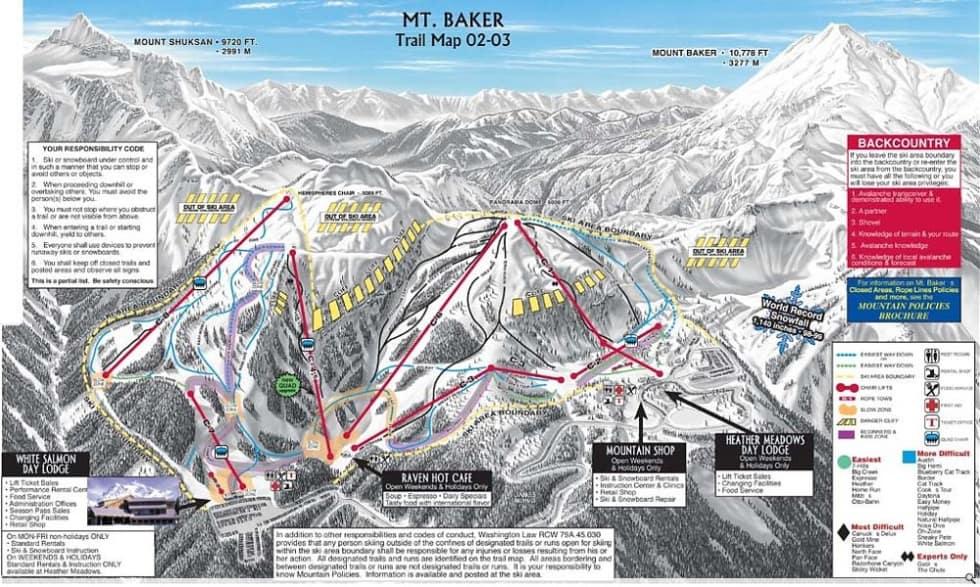 Mt Baker Trail Map   Liftopia