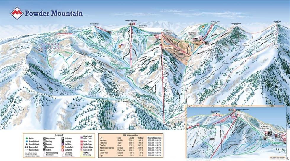 Powder Mountain Trail Map | Liftopia