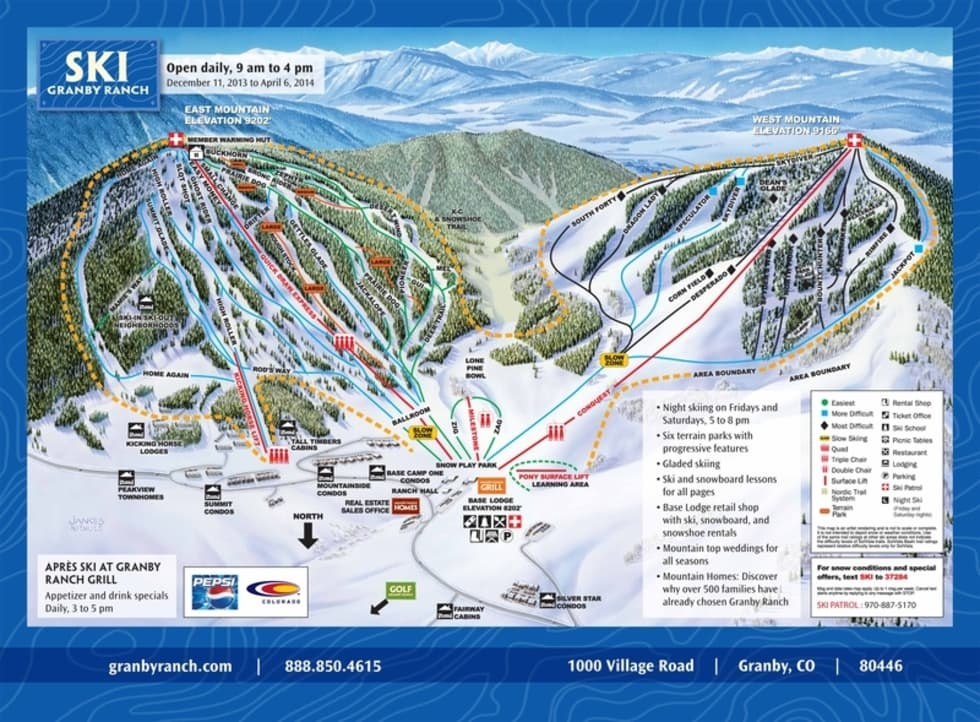 Ski Granby Ranch Trail Map Liftopia - Western us ski resorts map