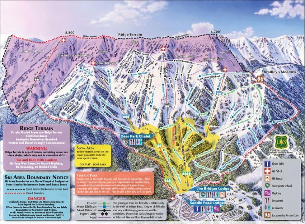 Bridger Bowl Trail Map Liftopia - Western us ski resorts map