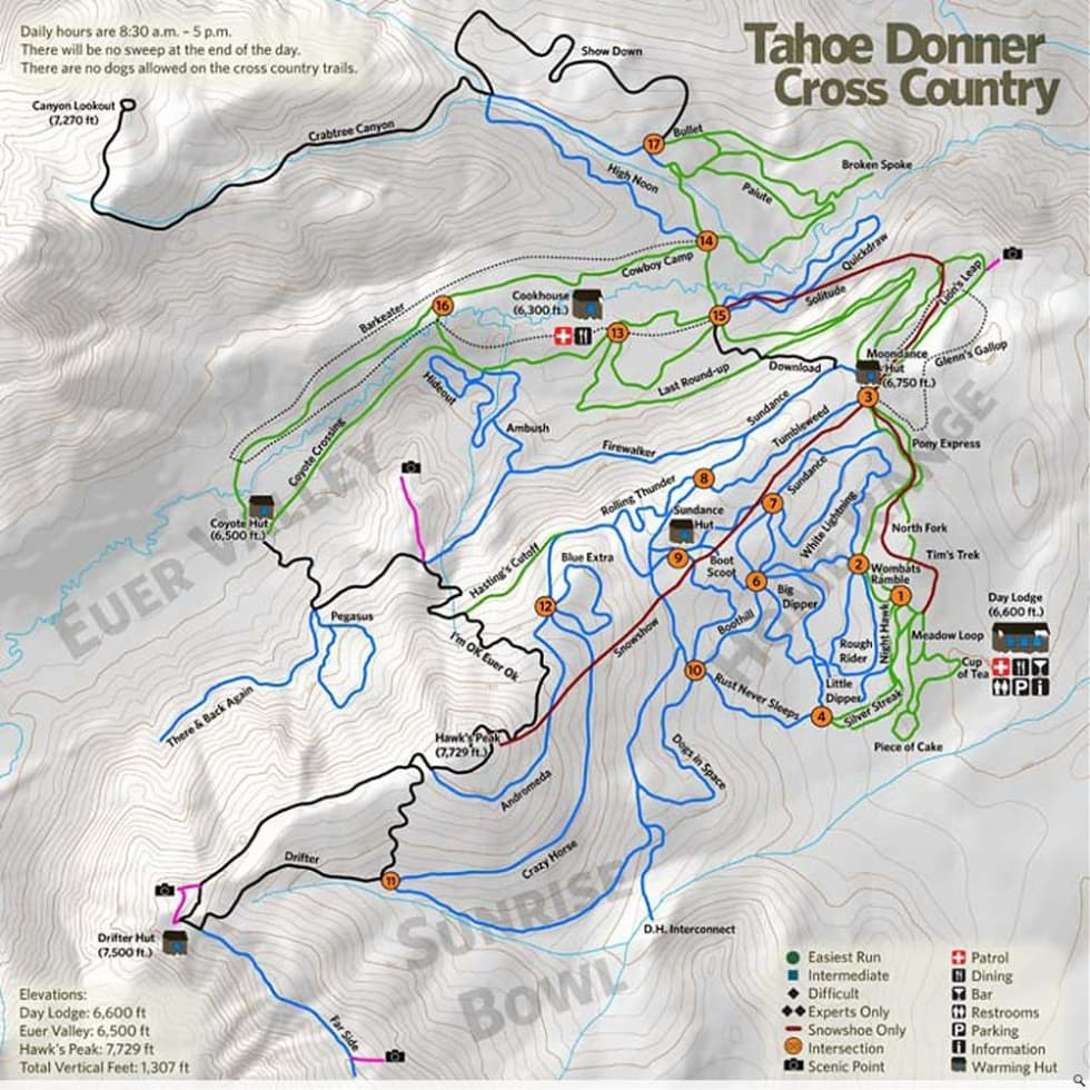 Tahoe Donner XC Trail Map | Liftopia
