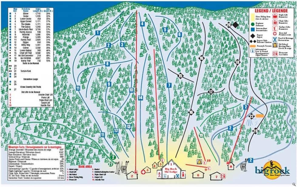 Big Rock Trail Map  Liftopia