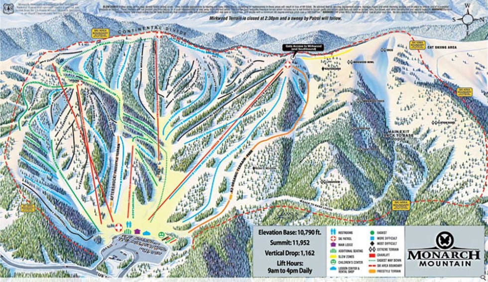 Monarch Mountain Trail Map Liftopia - Western us ski resorts map