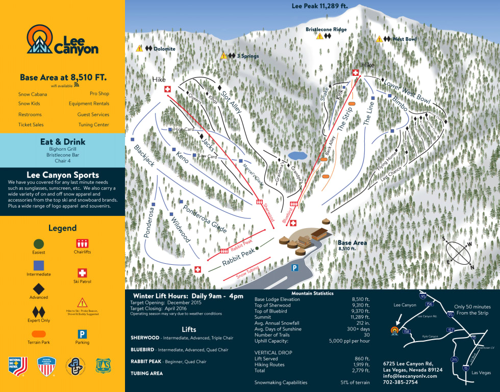 Lee Canyon (formerly Las Vegas Ski and Snowboard Resort) Trail Map on