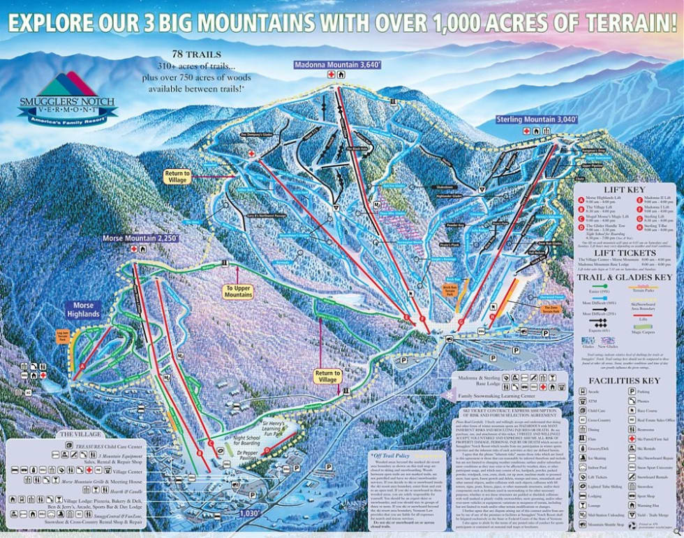 smugglers' notch trail map | liftopia