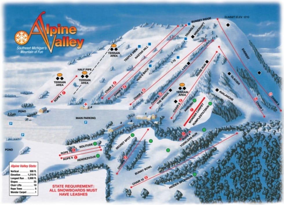 Ski Resort Michigan Map.Alpine Valley Michigan Trail Map Liftopia