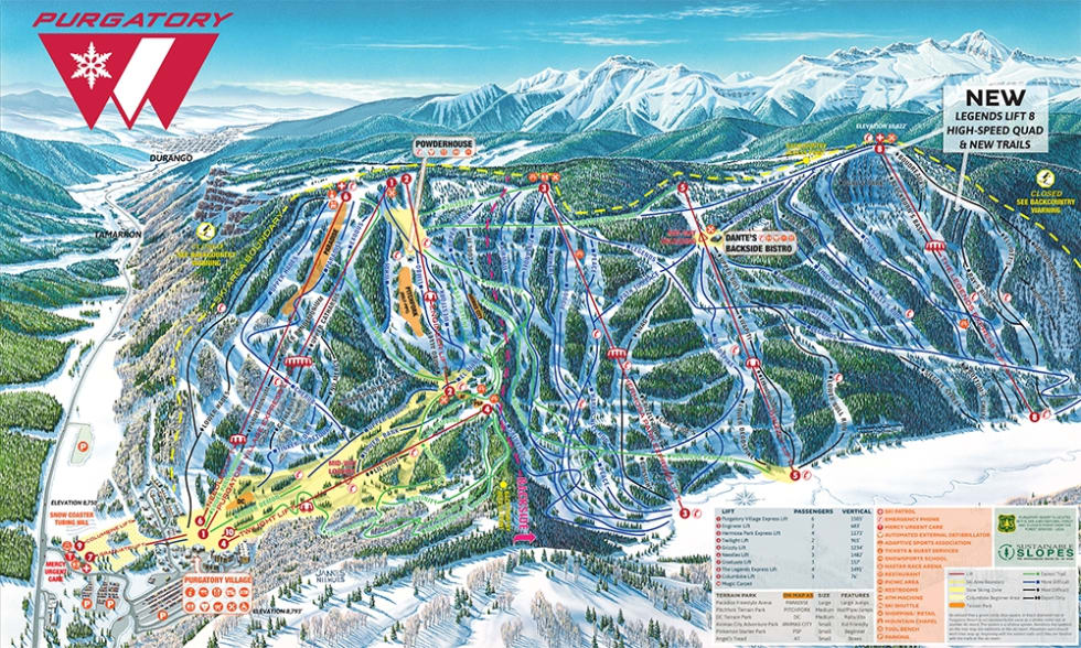 Purgatory Mountain Trail Map | Liftopia