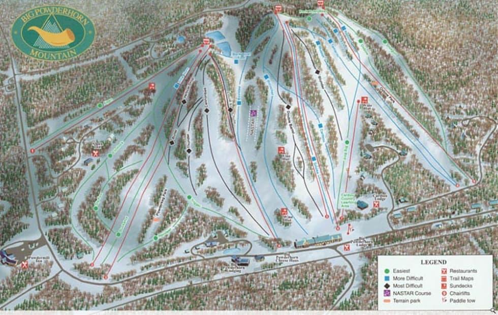 Ski In Michigan Map.Big Powderhorn Trail Map Liftopia