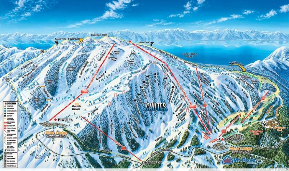 Mt. Rose Ski Tahoe Trail Map | Liftopia Tahoe Ski Resort Map on