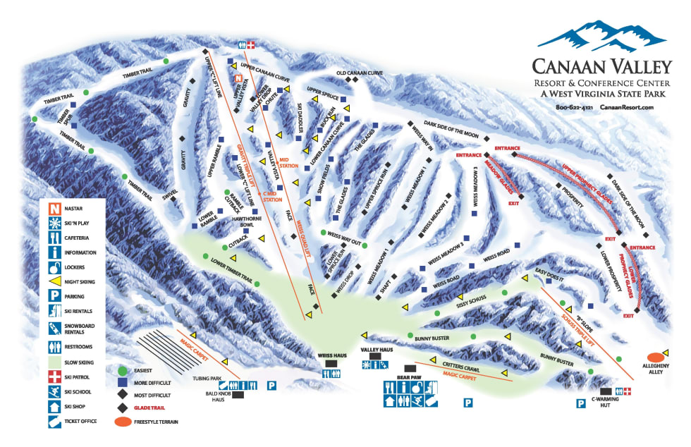 Skiing Virginia Map.Canaan Valley Trail Map Liftopia