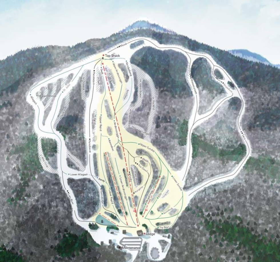 Ski Resorts In Maine Map.Black Mountain Of Maine Trail Map Liftopia