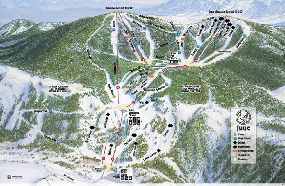June Mountain Trail Map | Liftopia on powder mountain map, deer mountain map, ascutney mountain resort map, titus mountain map, copper mountain map, mammoth mountain map, shirley mountain map, october mountain map, blue mountain ski area map, windham mountain map, bristol mountain map,