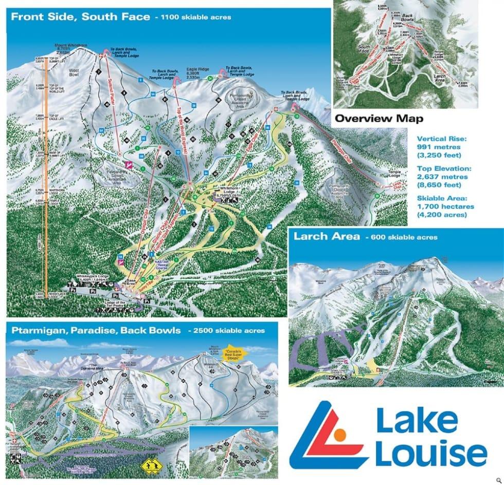 Lake Louise Ski Resort Trail Map | Liftopia